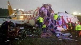 Sabiha Gökçende pistten çıkan uçak parçalandı139 yaralı
